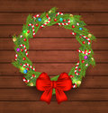 Christmas holiday decoration on wooden background illustration Royalty Free Stock Images