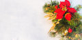 Christmas holiday faux poinsettia pine wreath with white copyspace. Royalty Free Stock Photo