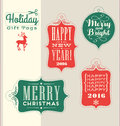 Christmas holiday gift tags vintage typography design elements retro Stock Image