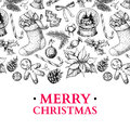 Christmas holiday greeting card. Vector hand drawn illustration Royalty Free Stock Photo