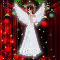 Christmas Holiday Red Haired Angel Stock Photo