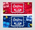 Christmas Holiday Sale Realistic Banners Set with 3D Frame