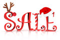 Christmas holiday sale in text with reindeer candy cane and santa hat accents on a white background Royalty Free Stock Images