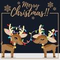 Christmas holiday season background with Christmas cartoon of cute reindeer with colorful Christmas light bulbs and snowflakes.