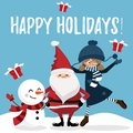 Christmas holiday season background with Santa Claus, snowman and Cute girl.