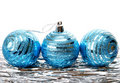 Christmas holiday  tinsel with blue balls isolated Stock Photo