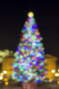 Christmas holiday tree blur defocused lights at pioneer courthouse square in portland oregon downtown blurred bokeh colorful at Royalty Free Stock Images