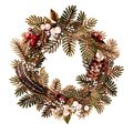 Christmas holiday wreath made of natural materials, branches, spruce, feathers, berries. Watercolor illustration