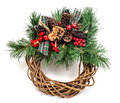 Christmas holiday wreath pine needle cranberry pinecone on an isolated background Stock Photo
