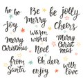 Christmas holidays hand lettering set. Calligraphy phrases collection Royalty Free Stock Photo