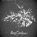 Christmas holly and bell elements for retro design Royalty Free Stock Photos