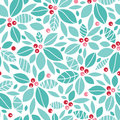 Christmas holly berries seamless pattern vector background with hand drawn elements Royalty Free Stock Image