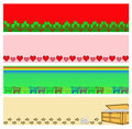 Christmas holly hearts shopping carts treasure chest doggy bones trim border set Royalty Free Stock Image