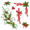 Christmas holly loops colorful design elements and Stock Image