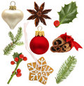 Christmas holly, red ball, green fir, snowflake Stock Photography