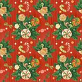 Christmas Holly red pattern with candy cane and lollipop bouquet, traced watercolor
