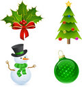 Christmas Holly, Tree, Snowman and Bauble Stock Photo