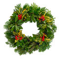 Christmas holly wreath isolated on a white background Royalty Free Stock Images