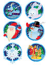 Christmas holydays icon six round holidays Stock Photo