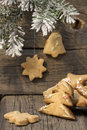 Christmas homemade cookies with fir Royalty Free Stock Photography