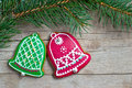 Christmas homemade gingerbread cookies over wooden Royalty Free Stock Photos