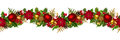 Christmas horizontal seamless background with balls fir branches cones poinsettia apples and holly Royalty Free Stock Photos