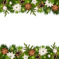 Christmas horizontal seamless background with fir branches and cones. Vector eps-10.