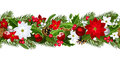 Christmas horizontal seamless background with fir tree branches balls cones poinsettias holly and mistletoe Royalty Free Stock Photography