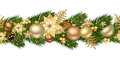 Christmas horizontal seamless background with golden balls fir tree branches cones poinsettias and stars Stock Photos