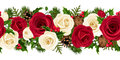 Christmas horizontal seamless background with roses red and white fir branches cones holly and mistletoe Royalty Free Stock Photography