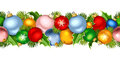 Christmas horizontal seamless garland with colorful balls. Vector illustration.