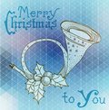 Christmas horn decoration hand drawn illustration over abstract background with text Stock Images