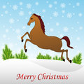 Christmas horse in snow Royalty Free Stock Photo