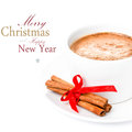 Christmas hot chocolate isolated on white background with easy removable sample text Royalty Free Stock Images