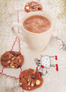 Christmas hot cocoa with chocolate cookies and hazelnuts Royalty Free Stock Images