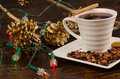 Christmas hot tea drink in a still life with decoration Royalty Free Stock Photos