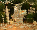 Christmas house with conifer magic and silver decorations Stock Photography