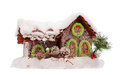 Christmas house covered by snow isolated Royalty Free Stock Photos