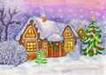Christmas house hand painted new year illustration watercolours in winter landscape and new year tree Royalty Free Stock Images