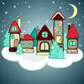 Christmas houses on the cloud Stock Image