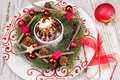 Christmas ice cream with chocolate and cinnamon on festive table viewed from above Royalty Free Stock Photo