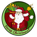 Christmas icon with santa claus carrying sack full of gifts Royalty Free Stock Image