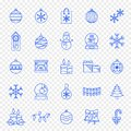 Christmas Icon set - 25 Blue Xmas and New Year icons