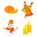Christmas Icon Set Collection Vector. cartoon. New year traditional symbols . and icons objects. Snowman, deer, candles