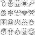 Christmas icon set vector illustration. Contains such icon as Santa claus, Elf, Snow ball, xmas tree, Snow man, Christmas flower a Royalty Free Stock Photo