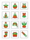 Christmas Icon Set On White