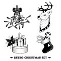 Christmas icons black and white set big with deer sock holy branch isolated vector illustration Stock Photography