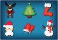Christmas icons different sweet and funny Stock Photo