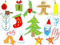 Christmas icons draw by a child Royalty Free Stock Image