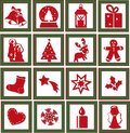 Christmas icons illustration of red isolated Royalty Free Stock Photos